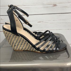 anthropologie Seychelles black wedge sandal 8